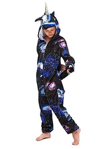 Amenxi Franela Pijama Animal Entero Unicornio Adulto Niños Pijamas Unisexo Traje para Mujer Hombre Disfraz para Navidad Halloween Cosplay (Universe Unicorn, Height:120-130cm)