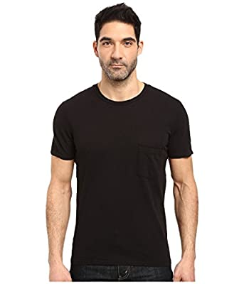 7 For All Mankind Men's Short Sleeve Cotton Raw T-Shirt, Black with Pocket, L by Seven For All Mankind Men's Collection