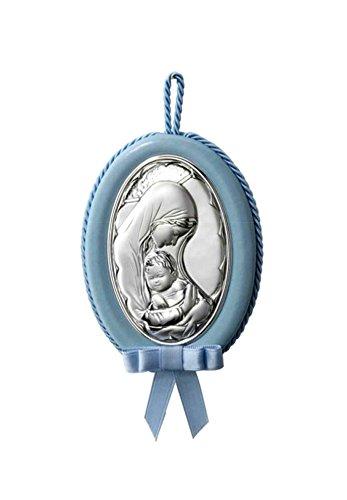 Medalla musical de cuna ó cochecito de Virgen con niño en Plata bilaminada, disponible en colores Rosa, azul ó blanco, a su elección.