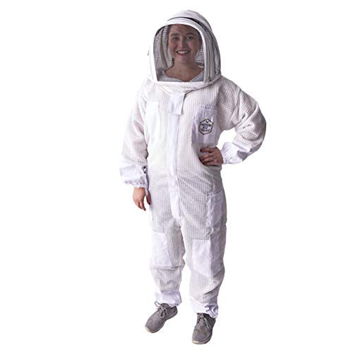 Full Size Ventilated Beekeeping Suit for Men and Woman with Sting-Proof, Triple Layer Fabric, Removable Fencing Hood with Easy Open Veil and One Piece Step in Design (Small)