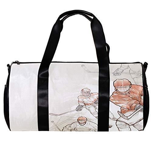 Runde Sporttasche mit abnehmbarem Schultergurt, Illustration von Eishockey-Training, Handtasche für Damen und Herren