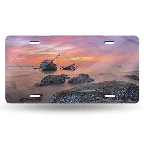 dsdsgog Front Cover for Cars Shipwreck,Foggy Water Sunset 12x6 inches,Four Holes