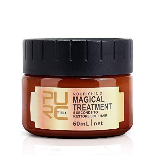 PURC Masque Capillaire, Magical Masque Capillaire Traitement Nourrissant Doux Lisse Réparation Dommages, Les Cheveux KéRatine Et Du Cuir Chevelu (60 ML)