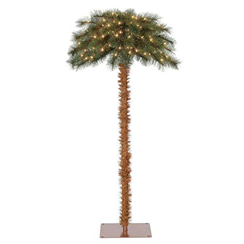 Island Breeze 5 Foot Pre-Lit Artificial Tropical Christmas Palm Tree with White Lights and Stand