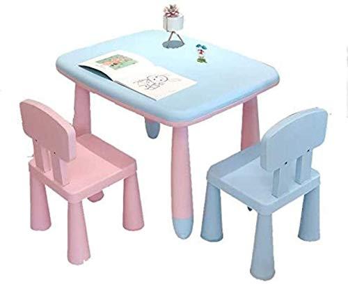 Life Equipment HZY Canapé Tabouret Table et Chaise Ensembles Enfants Manger Dessin Table d'apprentissage Épais PP Portant Facile à Déplacer Multipurpose 1 Table et 2 Chaises