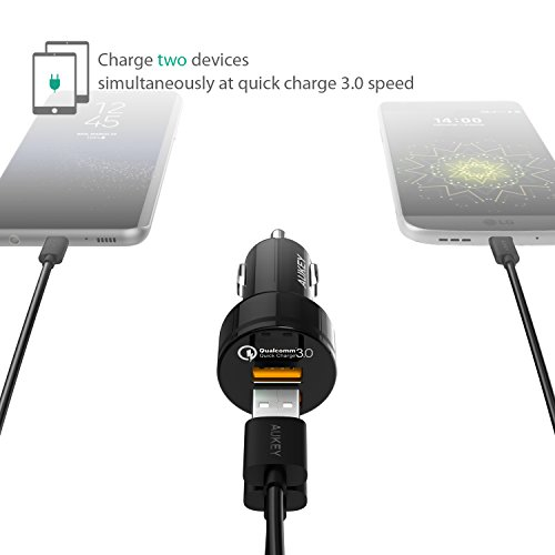 AUKEY Quick Charge 3.0 Kfz Ladegerät Dual Ports 36W Auto Ladegerät für Samsung Galaxy Note 8 / S8 / S8+, LG G6 / G5 / V20, Nexus, HTC 10, iPhone X / 8 / 8 Plus / 7, iPad usw.
