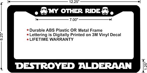 Star Wars My Other Ride Destroyed Alderaan Stormtrooper Black License Plate Frame Cover 2 Hole 12' X 6'