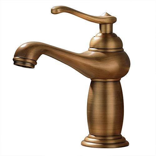 Bad Wasserhahn Vintage Waschbecken Wasserhahn Einlochmontage Unabhängiger Aufzug Kleiderschrank Warmen und Kalten Wasserhahn Antiken Messing Wasserhahn Wasserhahn