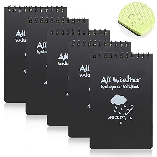 Paquete de 5 cuadernos impermeables, bloc de notas de 15 x 10 cm, blocs de notas para todo tipo de clima con espiral superior, blocs de notas tácticos con cuadrícula (negro)