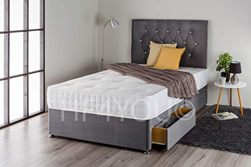 Home Furnishings UK Plush Divan Bed Set with Pocket Sprung Memory Mattress and Matching Diamante Headboard (4 Drawers) (4FT Small Double, Charcoal Plush)