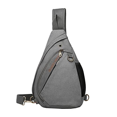 OUSIBEI Hombre Bolso Pecho Sling Bag para Hombres Mujeres con Puerto de Carga USB para Deporte, Gimnasio, Ciclismo Gris