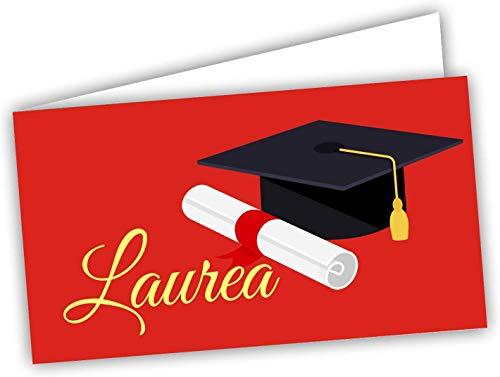 100 Bigliettini Bomboniera Laurea rossi, Biglietti Sacchetti Confetti - Laurea pretagliati - stampa l'interno con il file da scaricare dal link e il foglio di prova per non sbagliare