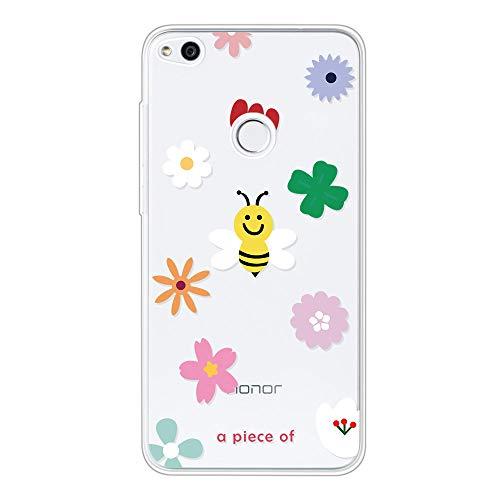 Everainy Funda Compatible para Huawei P8 Lite 2017 Silicona Suave Case Caso Transparente Goma Caucho Bumper Delgado Ultrafina Antigolpes Cover (Abeja)