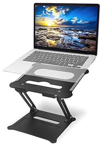 Laptop-Halterung, verstellbar und tragbar, ergonomisch, Aluminium, Notebook-Computer-Unterstützung mit Heizlüftung für Schreibtisch, kompatibel mit MacBook Air Pro, Dell, HP, Thinkpad, Schwarz