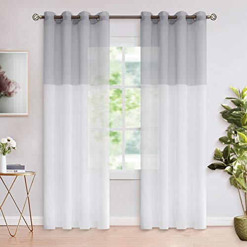 BGment Color Block Sheer Curtains for Living Room - Faux Linen Grommet Light Filtering Semi Sheer Window Curtain Panels for Bedroom, Set of 2 Panels ( Each 52 x 84 Inch, Light Grey )