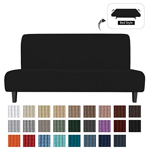 Easy-Going Stretch Sofa Slipcover Armless Sofa Cover Furniture Protector Without Armrests Slipcover Soft with Elastic Bottom for Kids, Spandex Jacquard Fabric Small Checks(futon,Black)