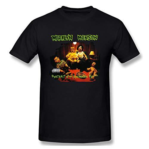 Udwios Mens Matta Marilyn Manson Portrait of an American Family T-Shirt Black XXL with Men's Short Sleeve