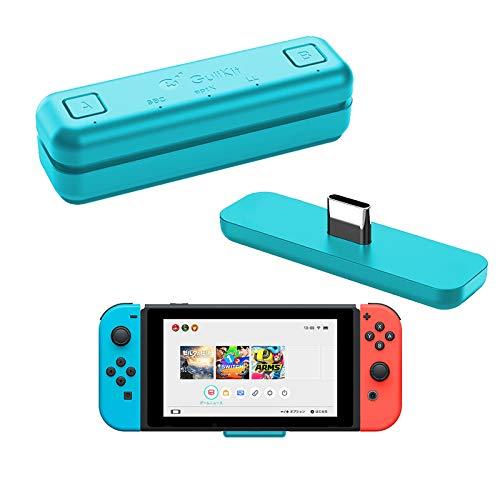 WeChip Adaptador de transceptor USB de Audio Bluetooth GuliKit Route Air para Nintendo Switch/Switch Lite / PS4 / PC, 5 mm, sin retraso, Plug and Play, Azul