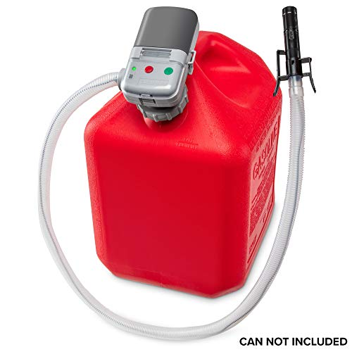 Deway Automatic Fuel Transfer Pump with Auto-Stop, AA Battery Powered, Advanced Adapter Fits All Size Cans, Extra Long Hose, Portable Liquid Pump for Gasoline, Diesel Fuel & More