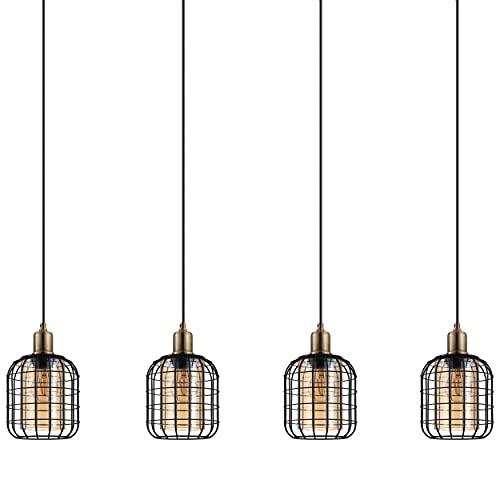 EGLO Lámpara colgante Chisle, 4 focos, lámpara colgante moderna, lámpara de techo de metal en negro y cristal ahumado en ámbar, lámpara de comedor, lámpara de salón colgante con casquillo E27