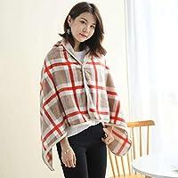 ウェアラブル 毛布, フランネル 柔らか 居心地の良い 掛け毛布, ボタンデザイン 用 冬 昼休み-80×130cm-C