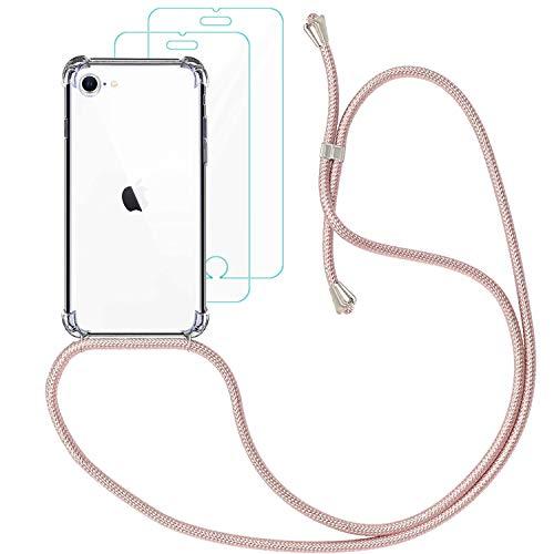 Yohii Funda con Cuerda para iphone 7/8 /SE 2020 + [2 Pack] Cristal Templado Protector de Pantalla, Carcasa Transparente TPU Suave Silicon Colgante Ajustable Collar, Case para iphone SE 2020 - Oro Rosa