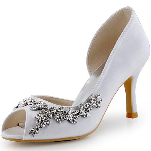 Elegantpark HP1542 Donna Partito Pompe Peep Toe D'Orsay Strasss Tacco A Spillo Satin Scarpe da Sposa Bianco 37