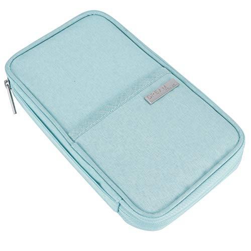 Omabeta Bolsa de almacenamiento impermeable a prueba de polvo, organizador de tarjetas, soporte para pasaporte para almacenamiento de tarjetas organizador (Tiff Blue Trumpet)
