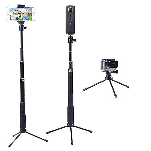 YiSeyruo Selfie Stick Monopod Extendible con Soporte Trípode para GoPro Fusion,Hero 6/5/4/3 + / 3/2/1 / Session, Samsung Gear 360,4K Acción Cámara, Ricoh 360, Olympus, M15, Sony RX0 Cámara y Celulares