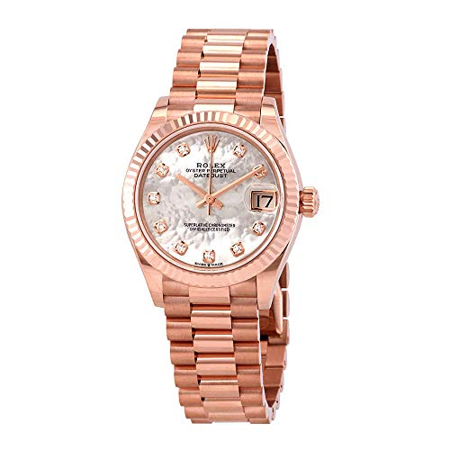 Rolex Datejust 31 Mother of Pearl Diamond Dial Ladies 18kt Everose Gold President Watch 278275MDP