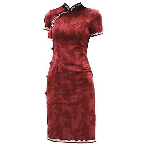 JFX Jfx Vestido Cheongsam Cheongsam - Vestido Modificado Rojo Corto Slim Slim Sexy Girl Joven Retro Estilo Chino Floral Qipao para Las Mujeres (Color: Vino Rojo, Tamaño: Medio),Vino Rojo,Grande
