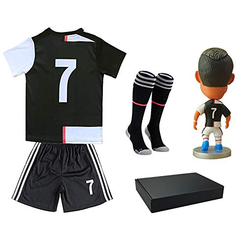 RIKPR #7 Soccer Jersey Kids Youth Football Shirt with Dolls Socks Name Birthday Gift for Boys Grils Black/White