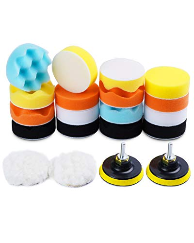 3-Inch Buffing and polishing pad kit 22PCS Car Foam Drill Polishing Pad Kit 80mm Buffing Pads Sponge Pads Kit for Car Sanding,Buffing,Waxing, Sealing Glaze(18 Pads+2 Drill Adapters+2 Suction Cups)