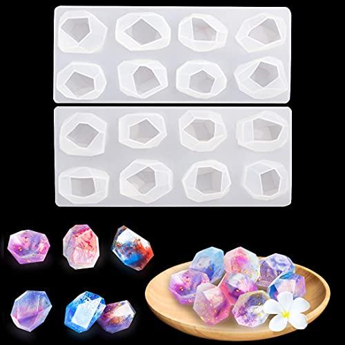 Koonafy 2Pcs Moldes Resina Epoxi Kit,Silicona Cristal Joyeria Molde,Irregular Moldes de Resina Velas,Epoxy Casting Molds para Jabones, Manualidades (casting molds)