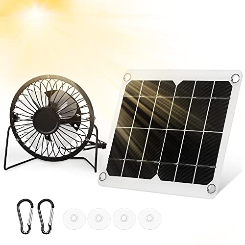 Roceei 10W 4 Inch Mini Solar Panel Powered Fan Outdoor Double USB Solar Panel and USB Solar Panel Fan Waterproof Mini Portable Cooling Fan for Greenhouse Home Dog Chicken House Car Ventilation System