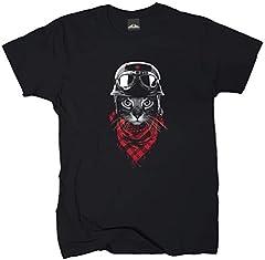 Wolkenbruch® Camiseta para hombre con diseño de gato Negro XXXXL
