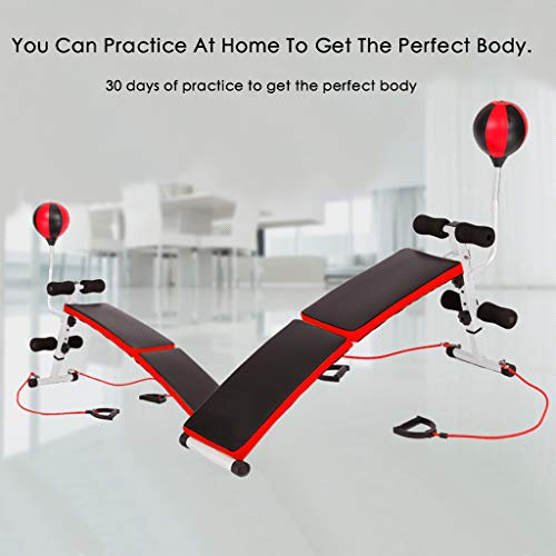 Sit Up Bench Workout Incline/Decline Bench Strength Training Equipment for Home Gym Ab Exercises Foldable Weight Bench Fitness Bench for Chest, Back, Abs, Arms Training, with Resistance Bands