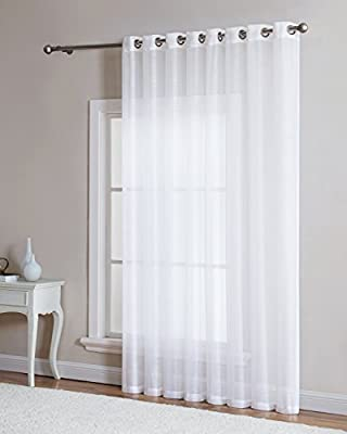 """LinenZone - Grommet Semi-Sheer - 1 Extra Wide Patio Curtain Panel - 102 Inch Wide - 84 Inch Long - Ideal for Sliding and Patio Doors - Natural Light Flow Material (Patio 102"""" W x 84"""" L, White)"""