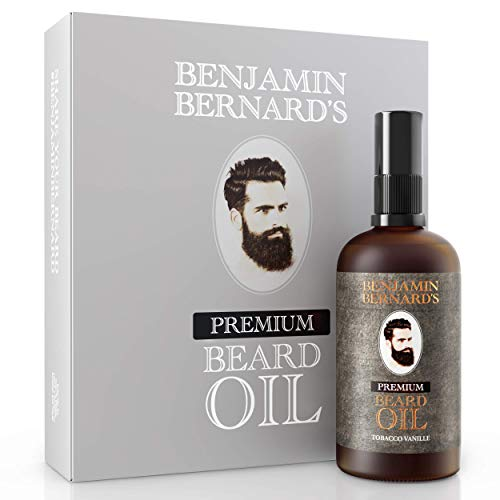 Premium Bartöl von Benjamin Bernard - Bartpflege für Männer - Mit ätherischen Ölen, Vitamin E - Natürliche Feuchtigkeit - Serum und Conditioner für Bart-Styling - Tobacco Vanille - 100 ml