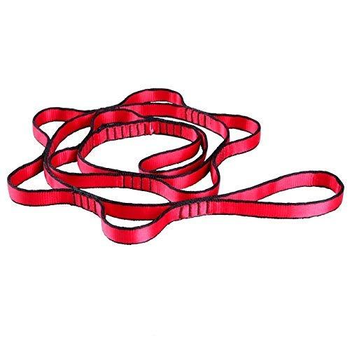 WMYATING Hamaca de Yoga aérea 7 Anillo Cinturón de extensión Nylon Alta Resistencia Banda Doble Hamaca Longitud de la Banda 1.1m (Color : Red)