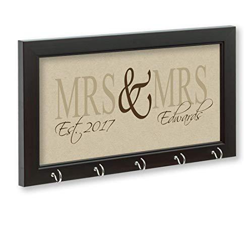 Mrs & Mrs Key Holder, Lesbian Gift, Gay Gift, Lesbian Wedding Gift, Gay Wedding Gift, Key Hanger, Wall Key Rack, Wall Key Holder, Key Holders, Personalized Gift, Home, Housewarming Gift, Wedding Gift