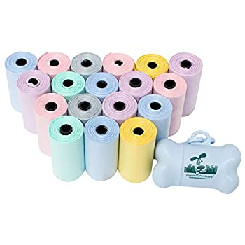 Dog Pet Waste Poop Bags Scented with Lavender in Rainbow Pastel with Leash Clip and Dispenser  500 Bags Lavender