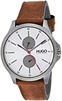 Hugo Boss Men's Silver White Dial Brown Leather Watch - 1530123