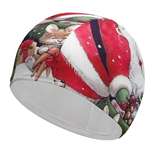 Christmas Santa Animal Swim Cap for Women Waterproof 92% Polyester+8% Spandex Keep Your Hair Dry Bathing Cap for Unisex Ladies