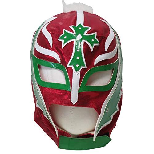 【プロレスマスク】小さな巨人 レイ・ミステリオ セミプロマスク 後開WWE試合仕様ファー付 レッド ルチャリブレ プロレス