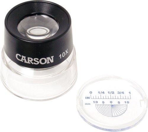 Carson Lupa de Contacto LumiLoupe de 10x con Retículo de Medición a Presión