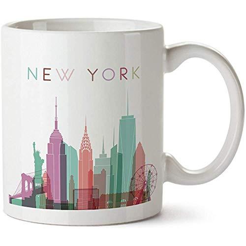 New York City Silhouette Ansicht bunte Minimal Design Kaffee Becher-Keramik-11 oz-New York Souvenir Cup Mama,Papa,Freund,Freundin
