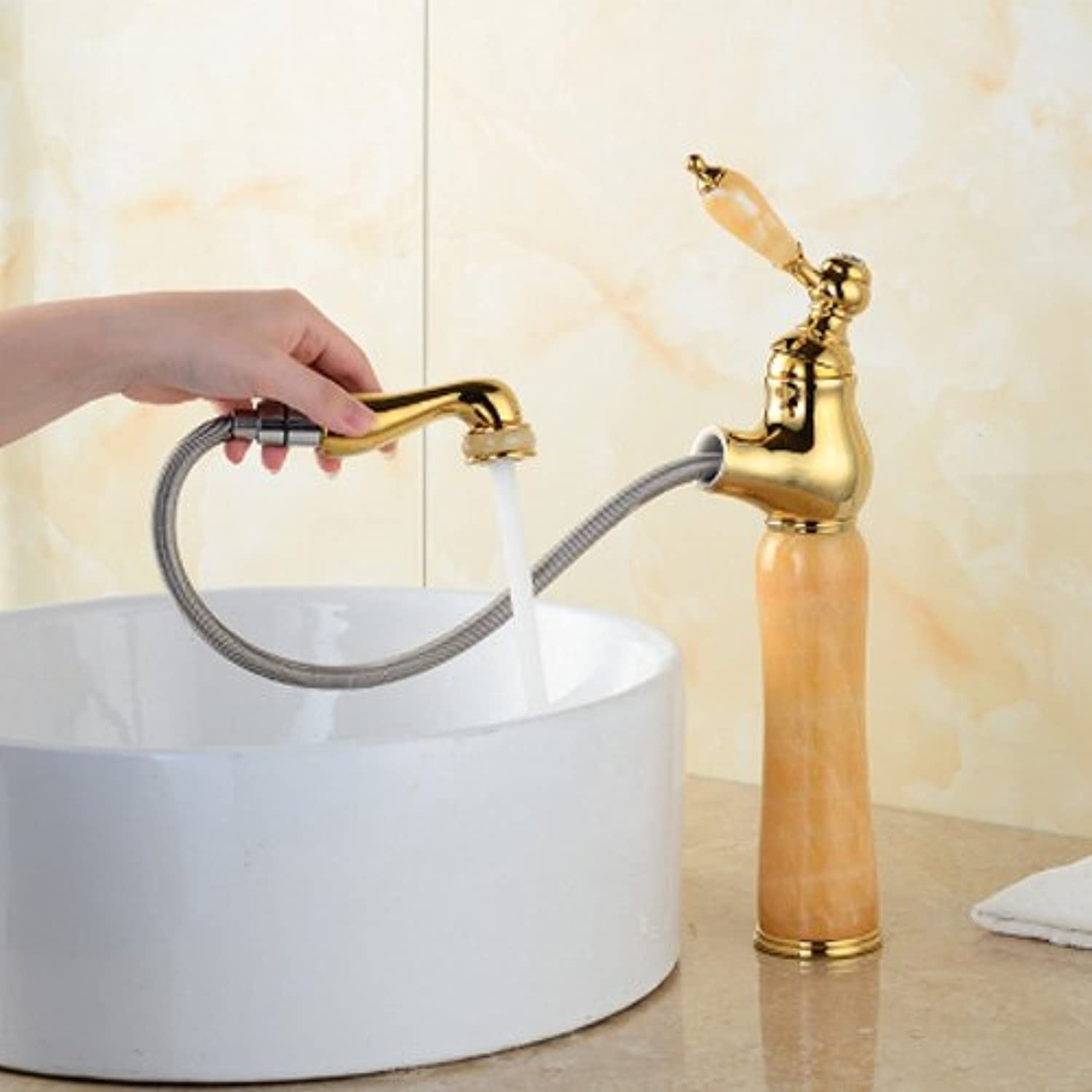 Pumpink Natural Jade Basin Hot And Cold Water Faucet American Brass European Antique Germany Copper Luxurious Noble Ceramics Grade Single Handle Single Hole Retro Mixer Tap ( Size   Tall )