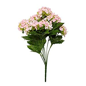 J.Summer Flowers Artificial Silk Hydrangea Flowers Bouquets Faux Hydrangea Stems 1 Pcs for Home Table Centerpieces Wedding Party Decoration (Light Pink)