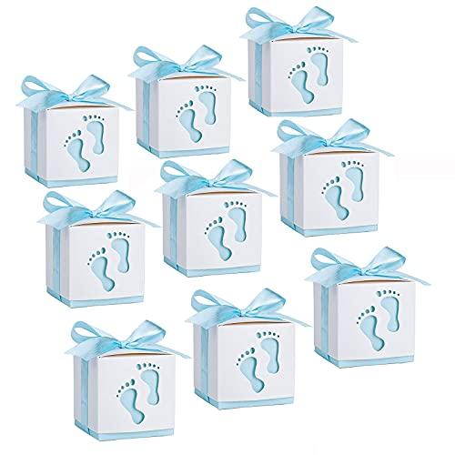 50 Piezas Cajas Papel Bautizo Caramelos, Cajitas Papel de Caramelos, Huella Cajas para Dulces, para Envasado De Dulces y Galletas, Como Regalo